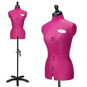 DEUBL 'Celine Multi' Mannequin Buste de couture pro réglable, torse femme en 8 parties, buste femme entièrement réglable avec support à cinq pieds (pivotant et réglable en hauteur), buste de couture à 12 molettes, plus largeur de cou et longueur du dos réglables, y compris arrondisseur de jupe avec fixation par épingles - Taille du torse S (36-44), couleur : Fuchsia