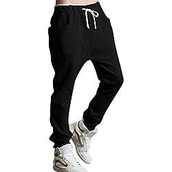 Minetom Hombres Harén Pantalones Deportivos Pantalones Casual Trotar Bailando Baggy Pantalones Negro EU S
