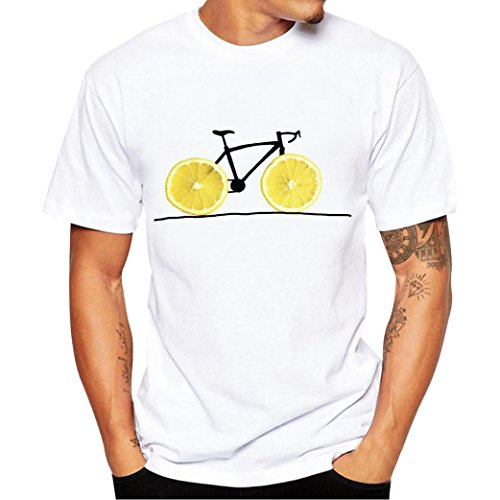 T-Shirts,Honestyi 2018 Männer Frühling und Sommer Mode Gedruckte Personalisierte T-Shirt Kurzarm Shirt Rundhalsausschnitt Slim Fit Einfarbige Sweatshirts Blusen Tops Oversize S-XXXXL (XXL, Gelb)