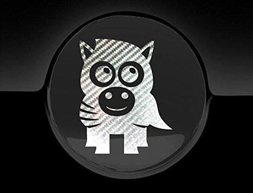 Silber Zebra Cover (JCM Liebenswürdig, Zebra Tankdeckel Cover Auto Aufkleber, Silber Carbon)