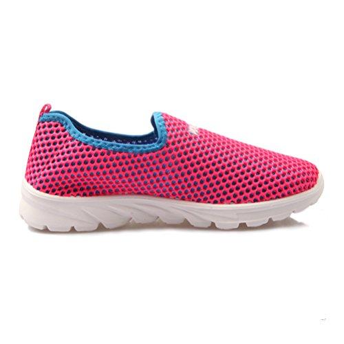 Sommer Mesh Damen Atmungsaktive Leichtgewicht Weiche Flach Slip On im Freien Sneakers Rot