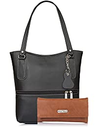 Fostelo Women's Combo Handbag & Clutch (Black & Tan) (FSB-1171-FC-32)
