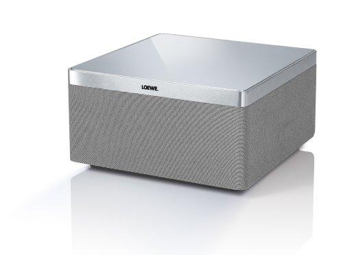 Loewe 51205B00 AirSpeaker Bassreflex Lautsprecher (80 Watt, AirPlay) für Apple iPhone/iPad/iPod, Aluminium/silber