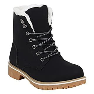 Worker Boots Warm Gefütterte Damen Herren Stiefeletten Stiefel Zipper Kunstfell Outdoor Schuhe 131615 Hellbraun Schwarz Weiss 39 Flandell