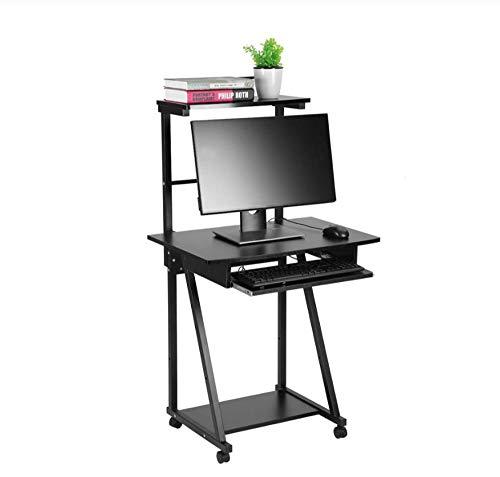 GFDEHG Home-Office-Laptop-Schreibtisch Doppelschichten Haushalts-Computer-Schreibtisch Laptop-Tisch Mobile Rolling Wheel Stand Laptop-Computer-Schreibtisch -