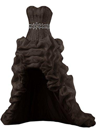 Gorgeous Bride Luxury Taegerlos Lang Hi-Lo Satin Organza Abendkleider Festkleider Ballkleider Schokolade