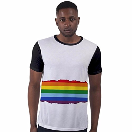 BANG TIDY CLOTHING All Over Print T Shirt Sublimation T-Shirts Rainbow LGBT Rainbow Mens Holiday T Shirts Festival Clothes - Black