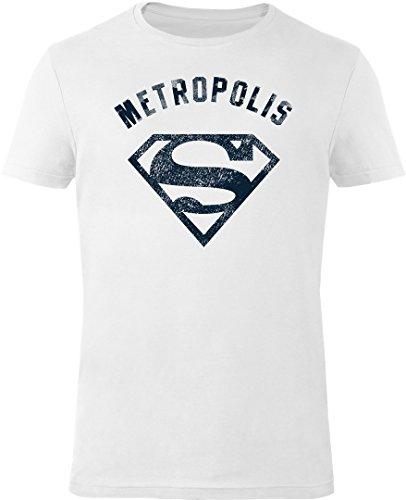 GOZOO Superman T-shirt Uomo Vintage Logo Metropolis 100% Cotone, Stampa di Alta Qualitá Bianca 3XL