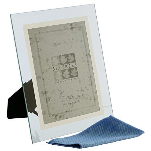 Abgeschrägtes Glas & Spiegel Line Rundum Foto Rahmen für einen 15,2x 10,2cm-25,4x 20,3cm Bilder-Stanbridge von Sixtrees, glas, silber, 20,3 x 15,2 cm -