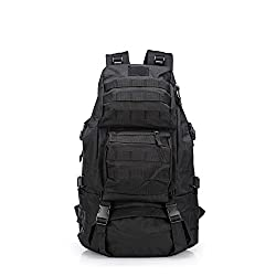 Huntvp 50l Tactical Backpack Military Rucksack Large Waterproof Assault Pack For Hiking Camping Trekking Black