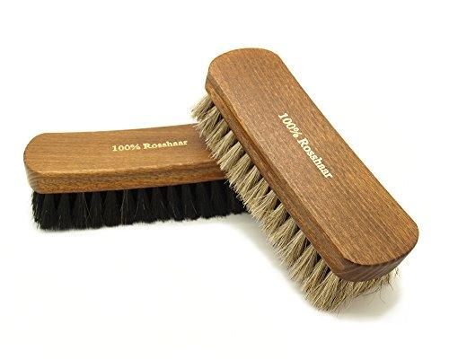 Pacona Kit d'entretien pour chaussures 2pièces (Brosses à reluire/Brosse à lustrer)–100 % crin