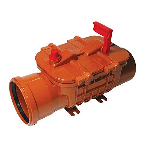 Rückstauverschluss DN110 mit doppelter Rückstauklappe Rückstausperre, Bau Rückstausicherung, DN 100/110 mm KG Rohr abwasser Fäkalien