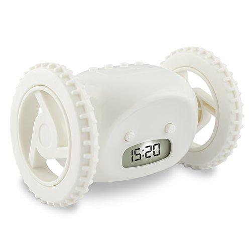 "VENKON - LCD Reloj Despertador Digital que huye ""Catch Me If You Can"" Reloj con Ruedas - Blanco"