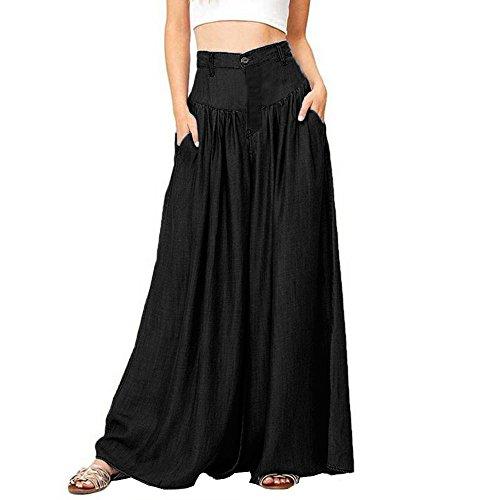 Xmiral Women Pants Plus Size Soft Wide Leg Cotton Long Pants Casual Button High Waist Trousers