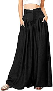 Fankle Women's Wide Legs Long Pants Cotton Soft Summer Casual Loose Trousers Wide Leg High Waist Culottes