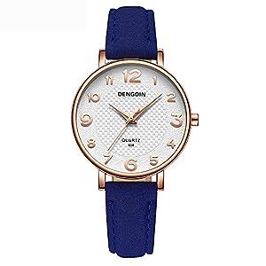 Hffan Damen Einfach Retro Uhr mit Lederband Quarzuhr Frauen Freizeituhr Runde Tabelle Plaid Handschmuck Armband Uhren Damenuhr