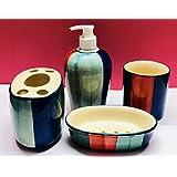 Hindustani Saudagar Painted Ceramic Bathroom Accessory Soap Dispenser, Beaker, Dish, Brush Holder (Multicolour) - Set of 4