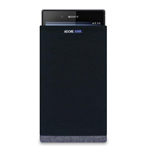 Adore June Tasche Bold für Sony Xperia Z Ultra Hochwertige Handytasche aus Canvas Stoff, Schwarz