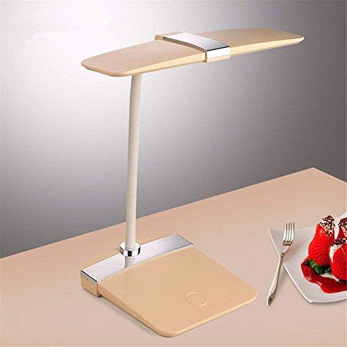 DHG Tischlampe-LED Wiederaufladbare Kleine Schreibtischlampe Auge Lernen Büro Dimmen Nacht Leselampe Schreibtisch Schreibtisch Schreibtisch Uhr Lichter,Golden