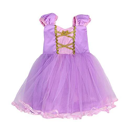 Das beste Kleine Mädchen Prinzessin Rapunzel Kostüm Kleid Puffärmeln,Cosplay Halloween Geburtstag Party Kleid Fancy Kleid Mädchen Kinder Kleid Halloween Kostüm