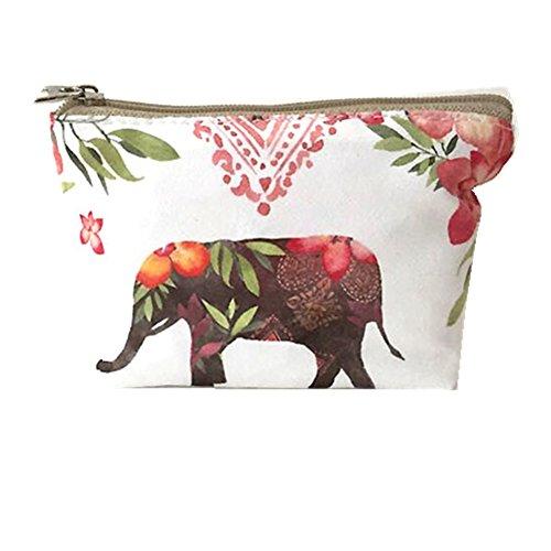 Hosaire 1X Monedero mujer niña cremallera,Elefante de flores Mini Monedero Bolsas para mujeres,para almacenar llaves,barra de labios,tarjetas size 13*10cm