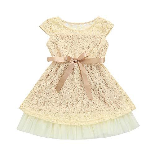 Xmiral tutu vestito abito gonna senza manich maglia compleanno carnevale partito vestito costume bambine tutu principessa abit altezzat:120cm beige