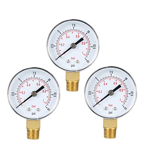 ZCHXD Bottom Mount Pressure Gauge, 0-15 psi/bar Dual Scale, 2