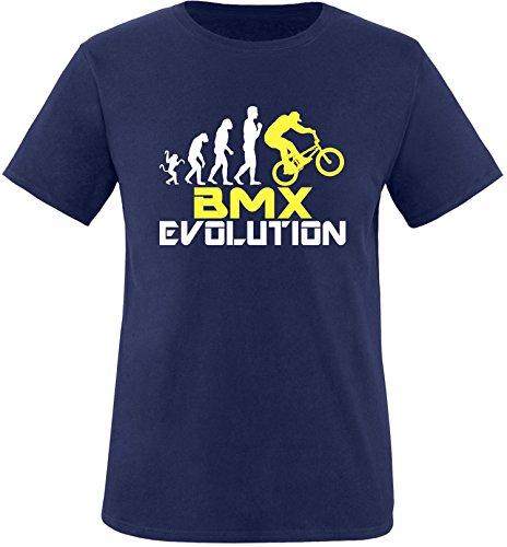 EZYshirt® BMX Evolution Herren Rundhals T-Shirt Navy/Weiss/Gelb