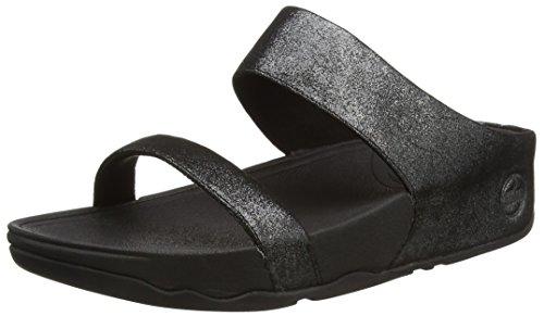 Fitflop Lulu Shimmersuede Slide, Sandali a Punta Aperta da Donna, Colore Nero (Black 001), Taglia 5 UK (38 EU)