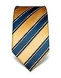 Vincenzo Boretti cravatta elegante classica da uomo, 8 cm x 15 cm, di pura seta di alta qualità, idrorepellente e antisporco, motivo a righe oro
