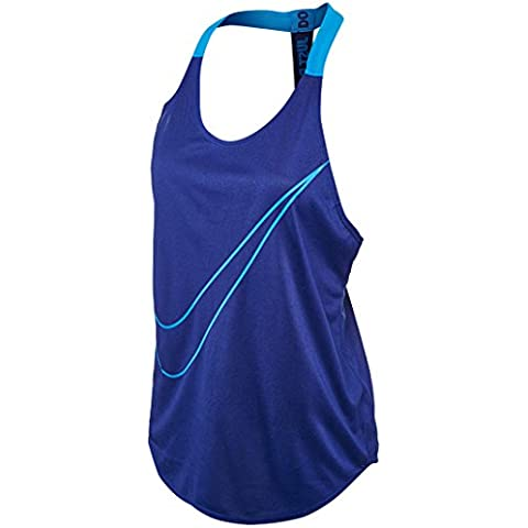 Nike W Tank Elastika Grx, Camiseta Para Mujer, Multicolor (Deep Royal Blue / Lt Photo Blue), M
