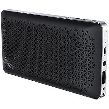 AUKEY Enceinte Bluetooth Portable avec PowerBank, Double Pilote et Surface Réticulaire, Résistante à l'Eau, avec Câble Audio 3,5 et Microphone Intégré pour iPhone, Samsung, Android et plus