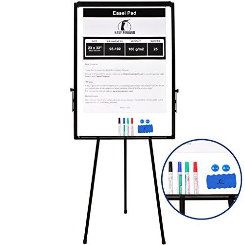 Staffelei-Tafel/Flipchart-Set 100 x 70cm - Whiteboard mit Stativ Tripod + 1 Magnetischer Trocken-Radierer, 4 trocken abwischbare, bunte Marker, 2 Magneten und 58 x 81cm Flipchart-Block mit 25 Blatt
