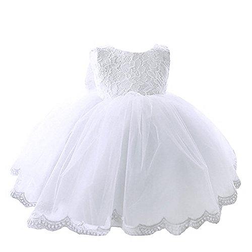 YiZYiF Kleinkinder Baby Mädchen Kleid Blumenspitze Prinzessin Kleid Hochzeit Partykleid Tüll Festzug Gr. 68 74 80 86 92 (68 (Herstellergröße: 60), Weiß)