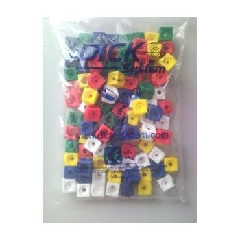 Dick-System Lot de 100 cubes à emboîter 1,7 x 1,7 cm 5 farbig (rot,blau, gelb, grün, weiß)