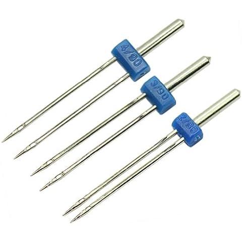 AllBeauty - 3 piezas de la alta calidad durable Doble Twin Needles alfileres de costura Accesorios de la máquina