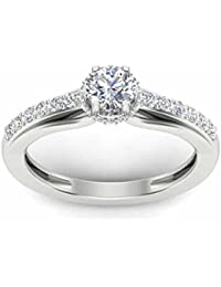 Naitik Jewels 92.5 Sterling Silver Solitaire Engagement Ring For Women