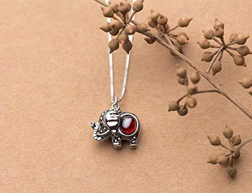 Good dress S925 Silber Halskette Anhänger Weiblichen Japanischen Stil Einfach Thai Silber Elefant Anhänger Temperament Granat mit Kette, 925er Silberanhänger, Wie Gezeigt
