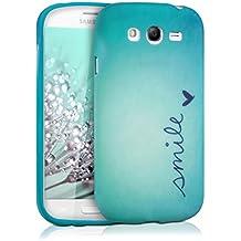 kwmobile Funda para Samsung Galaxy Grand Neo / Duos - Case para móvil en TPU silicona - Cover trasero Diseño Smile en azul turquesa