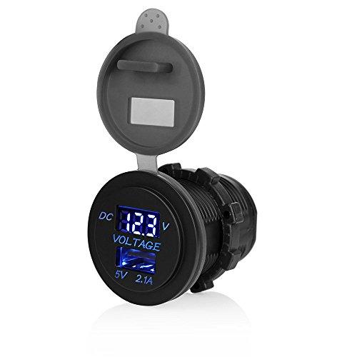 Winbang - Casquillo de Moto con Enchufe USB para Coche, con voltímetro, para Moto, Motor, camión, ATV, Barco, DC 12-24 V, Color Negro