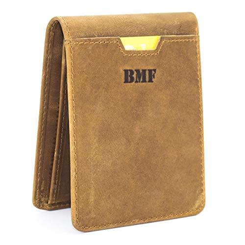 BMF Kreditkartenetui, Echtes Leder, Geldbörse mit Geld-Klammer & RFID-Blocker,Herren, Geldbeutel Geld-Clip Wallet Portmonee,Portemonnaie Geldschein, Münze, Schwarz, Braun (Braun) -