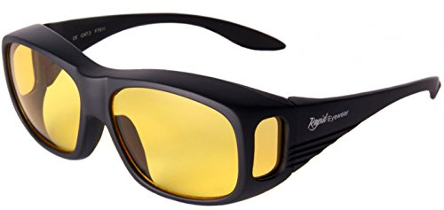 Rapid Eyewear Mens and Womens Black Antiglare Night Driving Over Glasses That Fit Over Prescription Spectacles: Yellow Amber HD Lenses. AR Coated