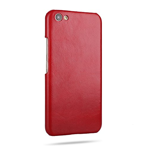 Retro Frosted Echtes Leder Hard Back Cover Luxus Holster Case Drop Schutz [Shockproof] Shell Cover für OPPO X9s Plus ( Color : Blue ) Red