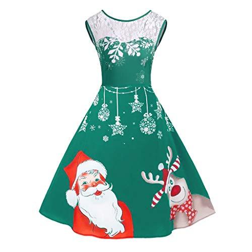 YBWZH Weihnachtskleider Große Größen Damen mit Rüschen Kragen Ärmellose Abendkleider Elegant Knielang mit Farbenfrohe Santa Druck Weihnachtskleid Vintage-Kleid für Weihnachtsfrauen Gr.48 46