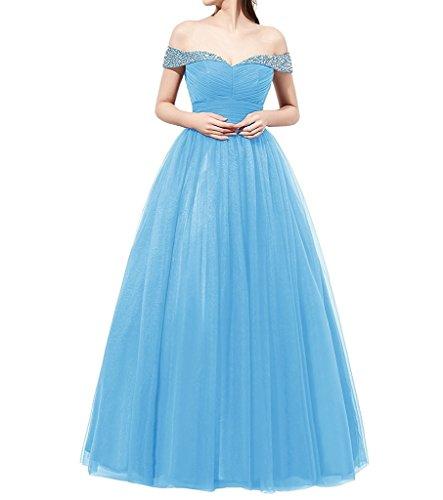 Ysmo Frauen A-Linie Tüll Perlen aus Schulter Backless Prom Kleid gefaltet Lange Abendkleid Blau
