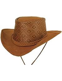 Luftiger Cowboy Western- Hut aus Microfaser und geflochtenem Hutblock mit formbarer Krempe in den Farben sand, rost und braun