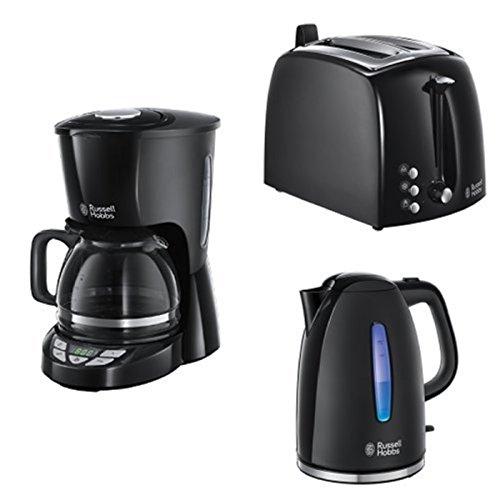 Russell Hobbs Frühstücksset Textures Plus Glas-Kaffeemaschine + Wasserkocher + Toaster