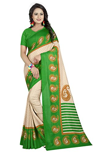 Manorath Women's Cotton Silk Printed Saree With Printed Blouse Piece (Mazza-Green)