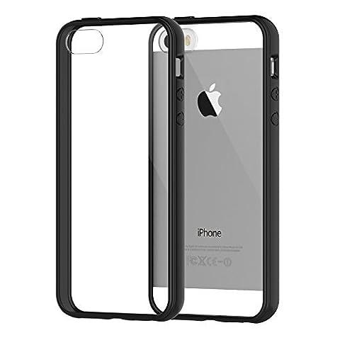 iPhone SE Coque, JETech Apple iPhone SE 5 5S Coque Housse Etui anti chocs Back Cover Bumper Case Anti Scratch Shock Absorption for Apple iPhone 5/5S/SE (Bumper - Noir)