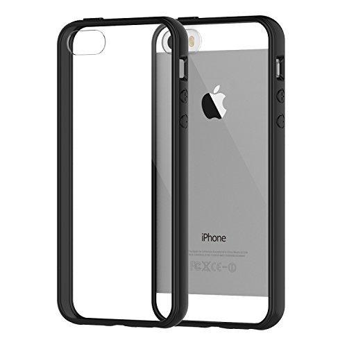 JETech Coque pour iPhone 5 iPhone 5S iPhone SE, Shock-Absorption et Anti-Rayures, Bumper, Noir